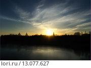 Купить «Силуэт Кремля в Великом Новгороде», фото № 13077627, снято 22 марта 2019 г. (c) Зезелина Марина / Фотобанк Лори