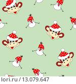 Новогодний и рождественский бесшовный фон с забавными обезьянами и снеговиками, одетыми в яркие шапочки. Стоковая иллюстрация, иллюстратор Татьяна Скрипниченко / Фотобанк Лори