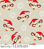 Новогодний и рождественский бесшовный фон с забавной обезьяной, символом 2016 года. Стоковая иллюстрация, иллюстратор Татьяна Скрипниченко / Фотобанк Лори