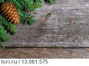 Купить «Еловые ветки с шишками на старых деревянный досках. Новогодний фон», фото № 13081575, снято 10 октября 2015 г. (c) Валерий Бочкарев / Фотобанк Лори