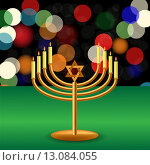 Купить «Менора с зажженными свечами», иллюстрация № 13084055 (c) Valerii Stoika / Фотобанк Лори