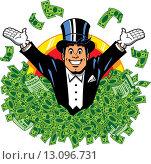 Купить «Rich wealthy happy millionaire billionaire with top hat and tuxedo surrounded by money.», фото № 13096731, снято 22 июля 2019 г. (c) PantherMedia / Фотобанк Лори