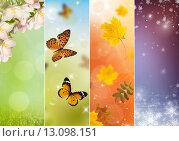 Коллаж из четырех сезонов - весна, лето, осень, зима. Стоковая иллюстрация, иллюстратор Ирина Толокновская / Фотобанк Лори