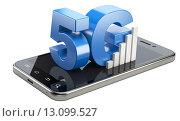Купить «5G знак на экране смартфона. Высокоскоростная технология передачи данных. 3D иллюстрация изолирована на белом фоне.», иллюстрация № 13099527 (c) Маринченко Александр / Фотобанк Лори