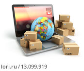 Купить «Shipping, delivery and logistic concept. Earth and cardboard boxes on laptop keyboard. Online technology.», фото № 13099919, снято 16 июля 2018 г. (c) Maksym Yemelyanov / Фотобанк Лори