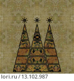 art three christmas tree in green, brown and beige colors with abstract pattern on beige vintage pattern background. Стоковое фото, агентство Ingram Publishing / Фотобанк Лори