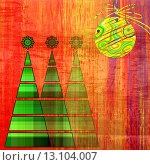art three christmas tree and ball in gold and green colors on vintage red, gold and orange pattern background. Стоковое фото, агентство Ingram Publishing / Фотобанк Лори