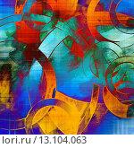Купить «art abstract geometric textured rainbow background with circles in blue, orange, red and green colors», фото № 13104063, снято 20 октября 2018 г. (c) Ingram Publishing / Фотобанк Лори