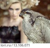 Купить «Blond lady with the falcon», фото № 13106071, снято 20 сентября 2014 г. (c) Ingram Publishing / Фотобанк Лори