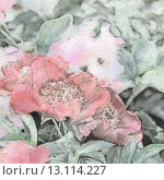 Купить «art floral vintage sepia watercolor background with light pink peonies», фото № 13114227, снято 26 марта 2019 г. (c) Ingram Publishing / Фотобанк Лори