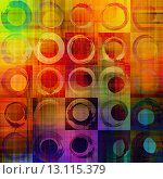 Купить «art abstract geometric textured rainbow background with circles in blue, orange, red and green colors», фото № 13115379, снято 16 июля 2018 г. (c) Ingram Publishing / Фотобанк Лори