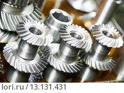 Купить «metal cog wheel gears», фото № 13131431, снято 18 мая 2015 г. (c) Дмитрий Калиновский / Фотобанк Лори