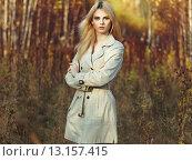 Купить «Portrait of young beautiful woman in autumn cloak», фото № 13157415, снято 28 сентября 2015 г. (c) Ingram Publishing / Фотобанк Лори