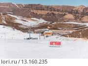 Купить «Danger signs on winter skiing resort», фото № 13160235, снято 27 февраля 2015 г. (c) Elnur / Фотобанк Лори