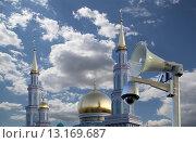Купить «Московская соборная мечеть, одна из крупнейших мечетей России и Европы, Москва», фото № 13169687, снято 6 ноября 2015 г. (c) Владимир Журавлев / Фотобанк Лори