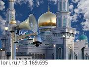Купить «Московская соборная мечеть, одна из крупнейших мечетей России и Европы, Москва», фото № 13169695, снято 6 ноября 2015 г. (c) Владимир Журавлев / Фотобанк Лори