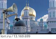 Купить «Московская соборная мечеть, одна из крупнейших мечетей России и Европы, Москва», фото № 13169699, снято 6 ноября 2015 г. (c) Владимир Журавлев / Фотобанк Лори