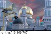 Купить «Московская соборная мечеть — главная мечеть Москвы», фото № 13169707, снято 6 ноября 2015 г. (c) Владимир Журавлев / Фотобанк Лори
