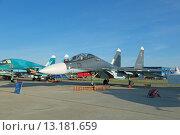 Купить «Международный авиационно-космический салон МАКС-2015. Су-30 СМ (по кодификации НАТО: Flanker-C) - российский двухместный многоцелевой истребитель поколения 4+», фото № 13181659, снято 24 августа 2015 г. (c) Игорь Долгов / Фотобанк Лори
