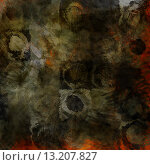 Купить «art abstract acrylic and pencil dark background in green, black, brown and orange colors with grunge circles», фото № 13207827, снято 20 января 2019 г. (c) Ingram Publishing / Фотобанк Лори