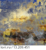 art abstract acrylic background in blue, yellow, grey and brown colors. Стоковое фото, агентство Ingram Publishing / Фотобанк Лори
