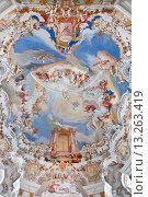Купить «World heritage wall and ceiling frescoes of wieskirche church in bavaria, Germany, Europe», фото № 13263419, снято 21 декабря 2012 г. (c) Наталья Волкова / Фотобанк Лори