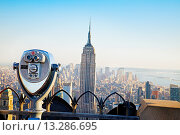 Купить «Midtown and the Empire State building, from the top of the Rockefeller Center Building, Manhattan, New York City  USA.», фото № 13286695, снято 27 мая 2019 г. (c) age Fotostock / Фотобанк Лори