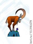 Купить «Comic_Zeichnung des Sternzeichens Steinbock Cartoon drawing of the zodiac sign Capricorn», фото № 13318679, снято 19 января 2020 г. (c) age Fotostock / Фотобанк Лори