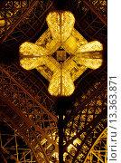 Dramatic straight up angle of the EIFFEL TOWERS construction shot at night _ PARIS, FRANCE. Редакционное фото, фотограф MyLoupe\UIG / age Fotostock / Фотобанк Лори