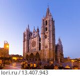 Купить «Cathedral of Leon in evening», фото № 13407943, снято 22 мая 2019 г. (c) Яков Филимонов / Фотобанк Лори