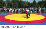 Купить «Татарская национальная борьба на поясах Куреш», видеоролик № 13443247, снято 22 марта 2019 г. (c) FotograFF / Фотобанк Лори