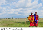 Купить «Kenya Masai Mara reserve with space and two Masai warriors and clouds in Masai Mara National Park in reserve 8», фото № 13520939, снято 7 июня 2020 г. (c) age Fotostock / Фотобанк Лори