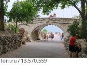 Купить «Драконий мостик (мост влюбленных) в Севастополе на Приморском бульваре», фото № 13570559, снято 14 июля 2015 г. (c) Ивашков Александр / Фотобанк Лори