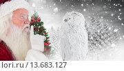 Купить «Composite image of father christmas asks for quiet», фото № 13683127, снято 25 мая 2020 г. (c) Wavebreak Media / Фотобанк Лори