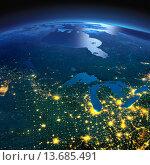 Купить «Северные штаты США и Канада в лунную ночь», иллюстрация № 13685491 (c) Антон Балаж / Фотобанк Лори