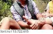 Купить «Hiker woman having her ankle painful», видеоролик № 13722615, снято 15 октября 2019 г. (c) Wavebreak Media / Фотобанк Лори