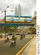 Купить «view through busy street at the Petronas-Towers, Malaysia, Kuala Lumpur», фото № 13754243, снято 23 июня 2018 г. (c) age Fotostock / Фотобанк Лори