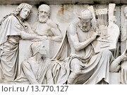 Купить «London, England, UK. Albert Memorial in Kensington Gardens: Frieze of Parnassus. Statues of Virgil, Pythagoras, Dante (seated), Homer (seated with lyre).», фото № 13770127, снято 17 июля 2018 г. (c) age Fotostock / Фотобанк Лори