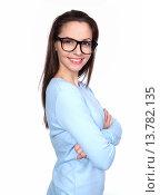 Купить «Lächelnde junge Frau mit schwarzer Brille», фото № 13782135, снято 20 мая 2019 г. (c) PantherMedia / Фотобанк Лори
