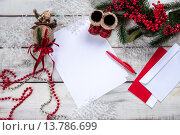 Купить «The blank sheet of paper on the wooden table with a pen», фото № 13786699, снято 20 июня 2019 г. (c) PantherMedia / Фотобанк Лори