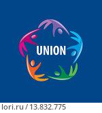 Купить «Логотип союза людей на синем фоне», иллюстрация № 13832775 (c) Алексей Бутенков / Фотобанк Лори