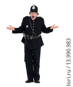 Купить «Humorous vintage police officer, keystone cop with funny expression, isolated on white background.», фото № 13990983, снято 20 июня 2019 г. (c) age Fotostock / Фотобанк Лори