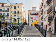 Купить «Typical Houses in the Streets of Bica, Lisbon, Portugal, Europe.», фото № 14057123, снято 19 августа 2018 г. (c) age Fotostock / Фотобанк Лори