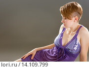 Купить «girl in a lavender negligee», фото № 14109799, снято 14 ноября 2015 г. (c) Типляшина Евгения / Фотобанк Лори
