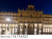 Купить «City hall at Plaza Mayor in night», фото № 14114627, снято 18 ноября 2014 г. (c) Яков Филимонов / Фотобанк Лори