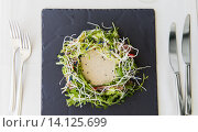 Купить «close up of poultry salad with sauce at restaurant», фото № 14125699, снято 30 апреля 2015 г. (c) Syda Productions / Фотобанк Лори