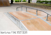 Купить «close up of ramp at city skatepark», фото № 14157531, снято 10 июня 2015 г. (c) Syda Productions / Фотобанк Лори