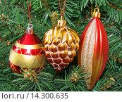 Купить «Елочные игрушки на новогодней елке», фото № 14300635, снято 28 ноября 2015 г. (c) Алексей Ларионов / Фотобанк Лори