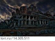 Индия. Хампи. Развалины старого храма перед грозой. Стоковая иллюстрация, иллюстратор Андрей Левин / Фотобанк Лори