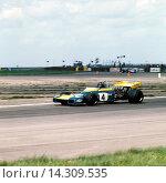 Купить «Graham Hill in a Brabham BT34-Cosworth Lobster Claw winning the XXIII BRDC GKN Daily Express International Trophy at Silverstone, England 8 May 1971.», фото № 14309535, снято 7 ноября 2013 г. (c) age Fotostock / Фотобанк Лори
